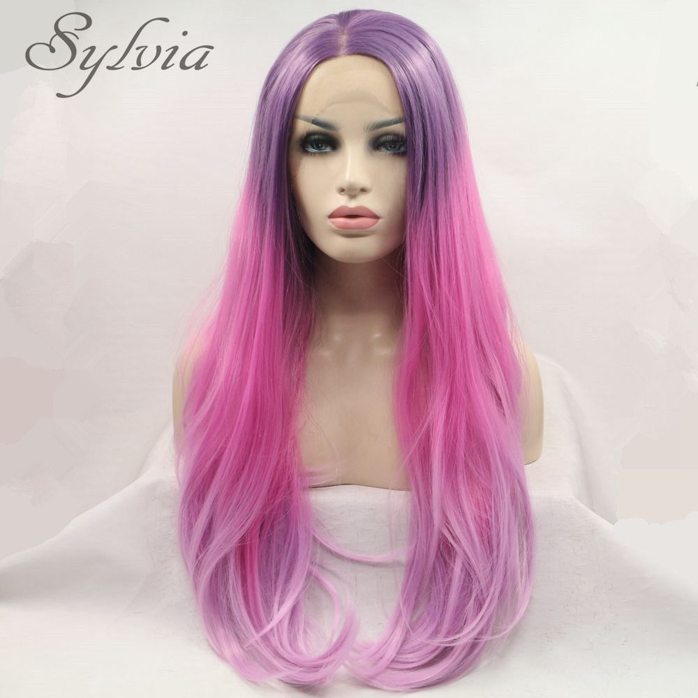 ФОТО Honey Pink Ombre Purple Natural Straight Synthetic Lace Front Wig For Women Three Tones Heat Resistant Fiber Hair Half Hand Tied
