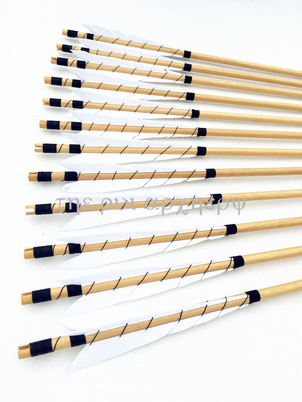 "12PCS Handmade Wooden Arrows Bolts 30/"" White Turkey feather for 25-50lbs Longbow"