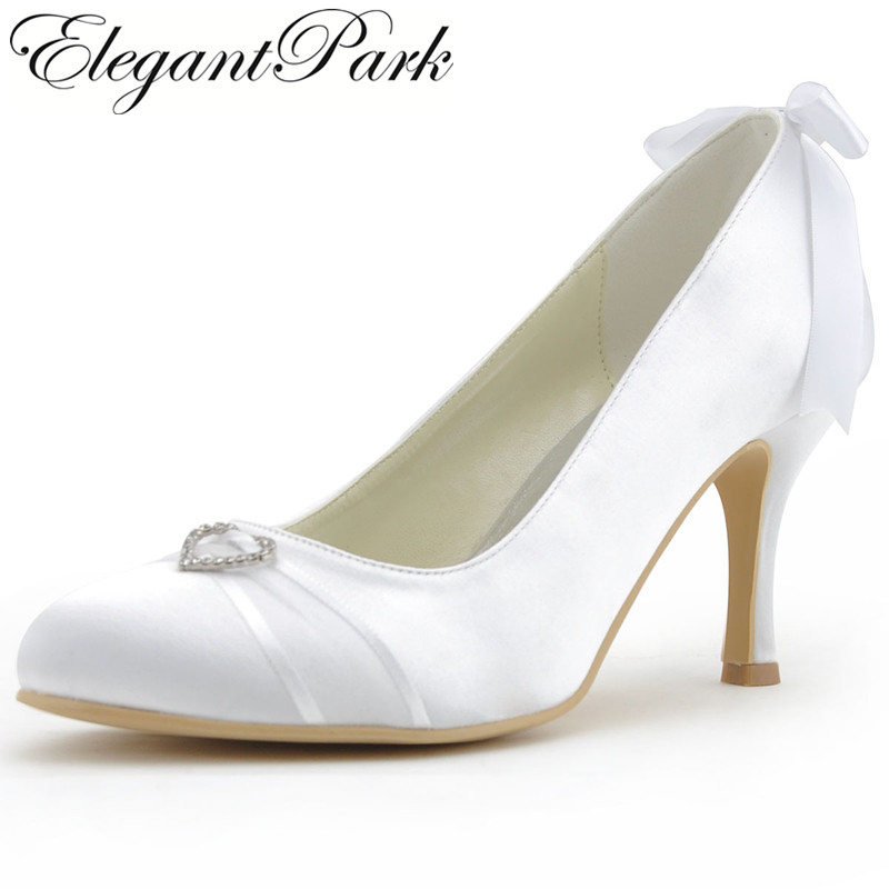 Woman Wedding Shoes A0617 White Ivory Closed Toe High Heel Heart Buckle Satin Bridesmaids Pumps Lady Bridal Shoes Women Heels