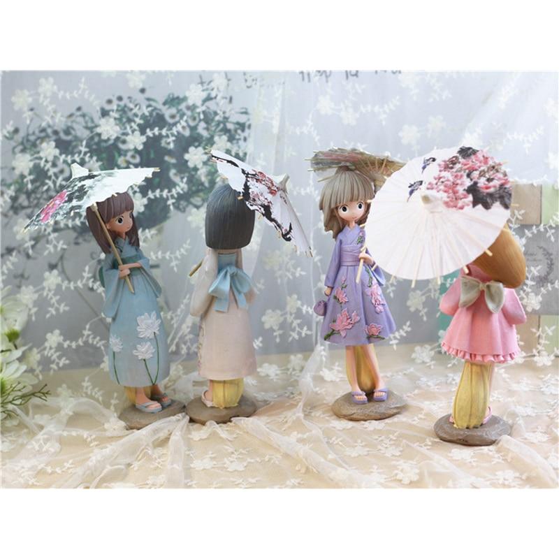 Kawaii De Bande Dessinee Parapluie Filles Figurines Japon Kimono