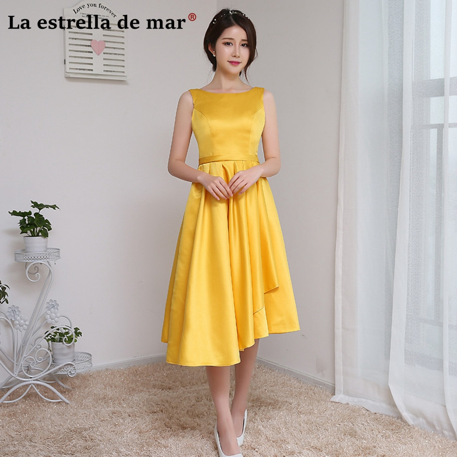 Vestido festa casamento2018 asymmetric Tea Length satin yellow   bridesmaid     dresses   plus size cheap robe demoiselle d'honneur