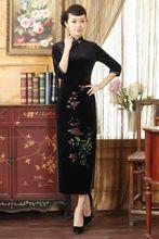 Sexy Black Chinese Women's Velvet Long Cheongsam Spring Autumn New Style Qipao Novelty Floral Dress S M L XL XXL XXXL T0003-A