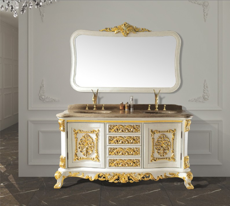 White solid wood antique bathroom cabinet  with mirror  and classic bathroom vanity bathroom furniture