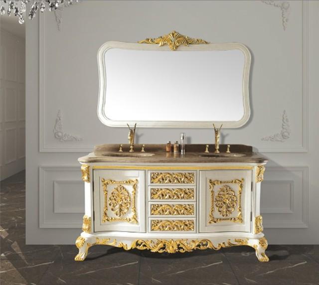 Wit massief hout antieke badkamermeubel met spiegel en klassieke ...
