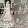 2016 Bride Veils White Applique Tulle 3 meters veu  noiva long wedding veils bridal accessories