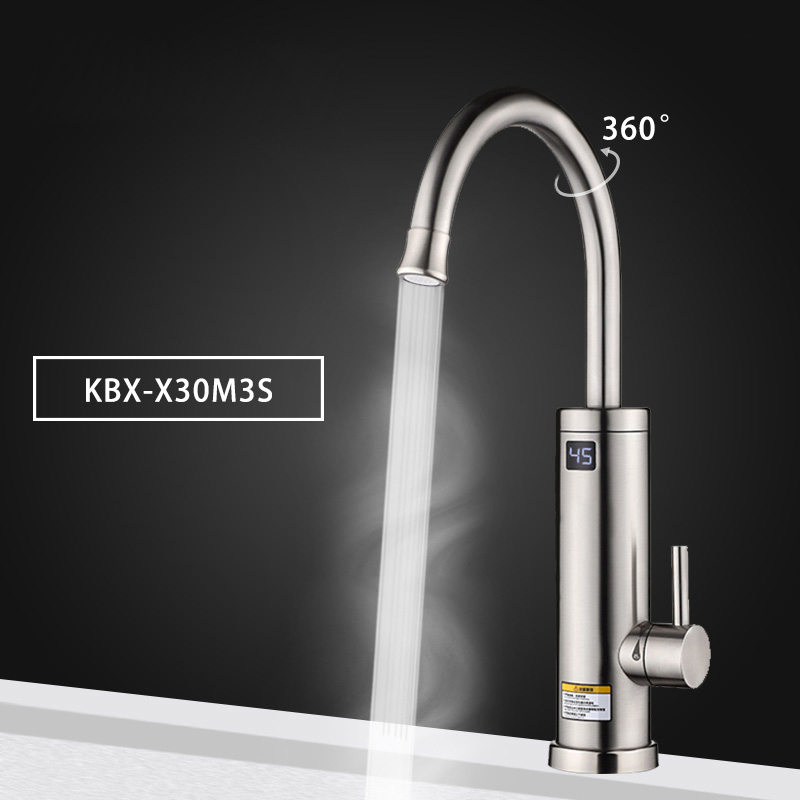 Electric Water Heater Tap Instant Hot Water Heater Tap Stainless Steel 360 Degree Rotation Kitchen Faucet with Up Led Display