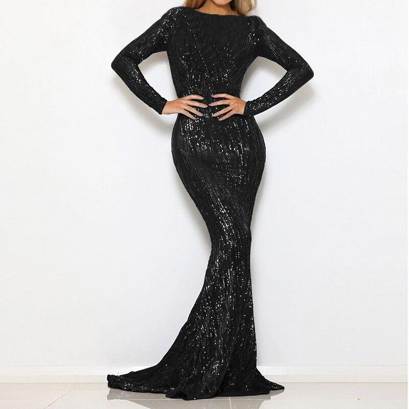 O Neck Black Sequined Wedding Party Dress Full Sleeved Floor Length Setretchy Evening Dresss