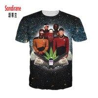 Sondirane Star Trek Weed Leaf Galaxy 3D Print T Shirt Fashion Men Women Casual Summer Short