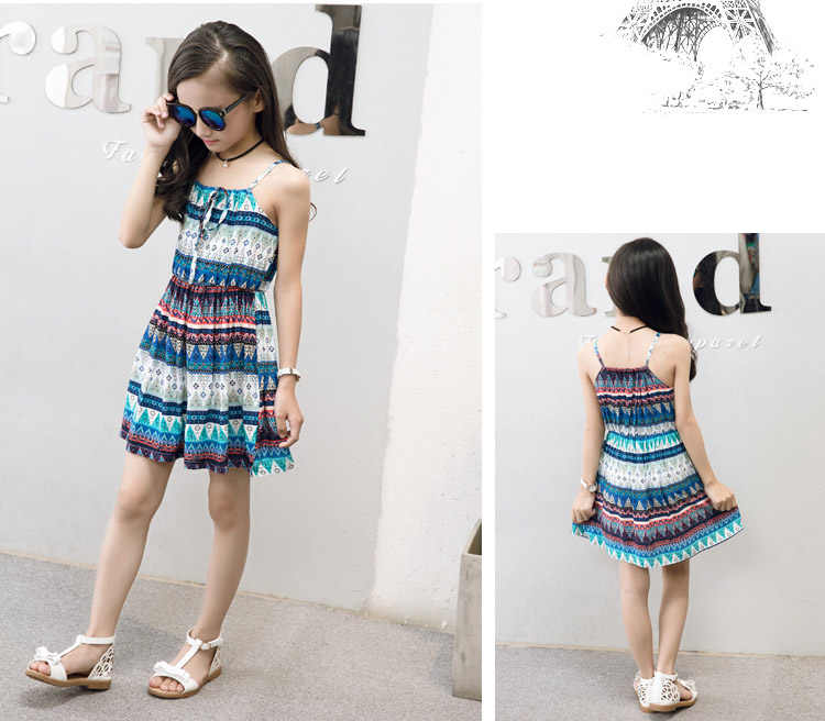 cf628a4eabd9 ... For 6 8 10 12 14 Years Girls summer clothes beach Bohemia Style Floral  Print cotton ...