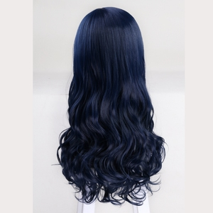 Image 5 - 60cm Descendants 2 Evie Blue Long Wavy Wig Cosplay Costume Women Synthetic Hair Party Role Play Wigs + Wig Cap