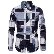New Fashion Abstract Print Shirt Men's Long Sleeve Casual Shirt Lapel Slim Shirt Men's Clothing недорого