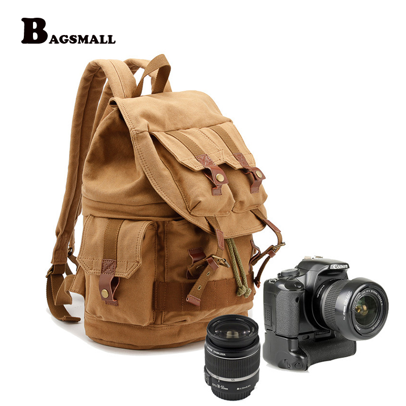BAGSMALL Men's Canvas Bag Waterproof Camera Backpack with Rain Cover for DSLR Photographic Bag Travel Daypack Schoolbag Rucksack high quality army green rucksack canvas backpack camera bag for nikon canon sony dslr camera