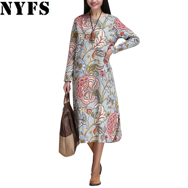 2017 Spring Autumn Women dress National Printing Women long dress long sleeve Casual Cotton Linen Loose Plus Size Vestidos Robe