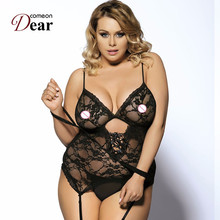 Comeondear Seductive Lace Sex Nude Teddy Lingeries Teddy With Handcuff RJ7600 Women Plus Size Lingerie 6XL New Tenue Sexy Erotic