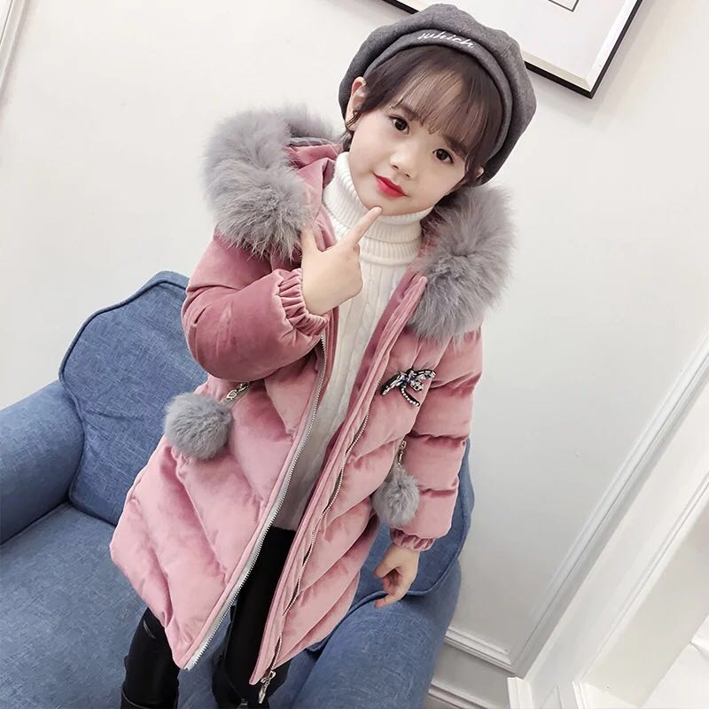 DZIECKO New 2018 Fashion Children Winter Jacket Velour Parkas Snowsuits Warm Thick Fur Collar Hooded Long Down Coats For Girls winter jacket for girls kids hooded parkas long thick children warm coats autumn down jackets toddler girls snowsuits outerwear