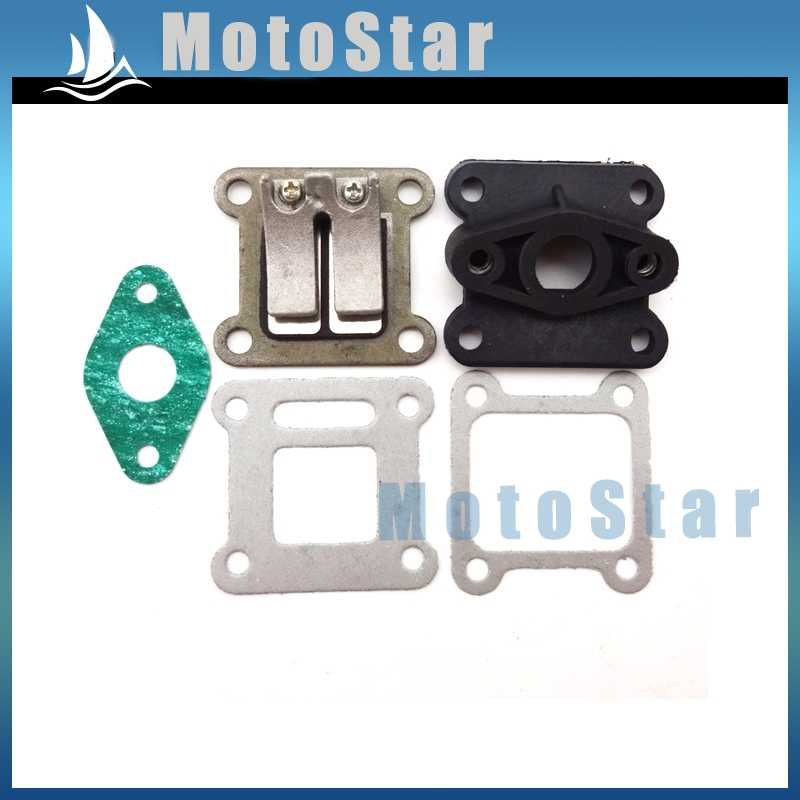 Pocket Bike Reed Valve Inlet Manifold + Gaskets For 2 Stroke 47cc 49cc Engine Carburetor Mini Moto Kids ATV Quad Dirt Bike