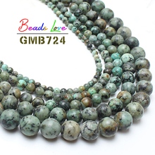 Natural Africa Blue Turquoises Stone Round Beads For Jewelry Making 15.5inch/strand 4 6 8 10 12mm Pick Size -f00044 Aa