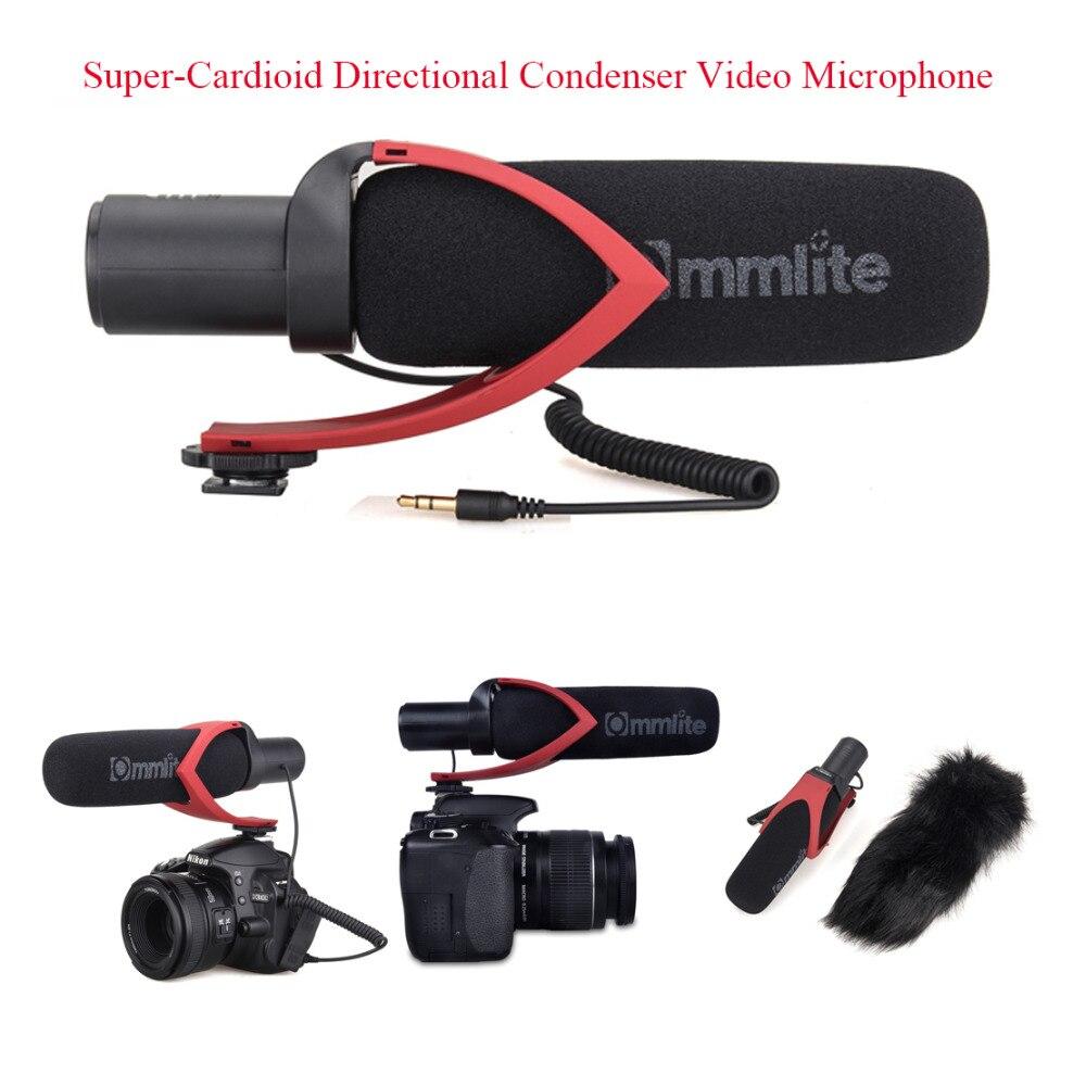 Commlite CVM V30 Super Cardioid Directional Condenser Shotgun Video Microphone for Video Interview Camera Camcorder Black