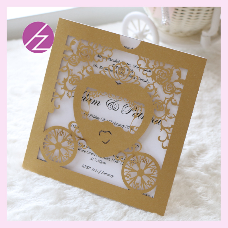 100 /pcs baby shower carriage crafts cards laser cut paper card ...