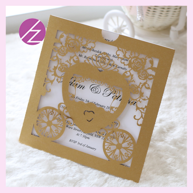 100 Pcs Baby Shower Carriage Crafts Cards Laser Cut Paper Card Party Wedding Invitation