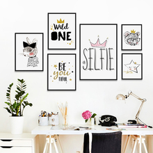 Bianche Wall Crown Abstract Cartoon Phrases Canvas Painting Art Print Poster Picture Home Decor, Bedroom Decoration