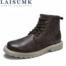 LAISUMK Men Fashion Lace Up Ankle Boots Autumn Motorcycle Shoes Males Breathable Oxfords Leather Martin Mens Casual