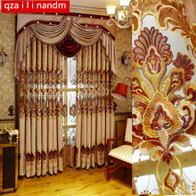 European and American Style Royal Gold Luxury Embroidered Valance Decoration Blackout Curtain For living Room Bedroom Window