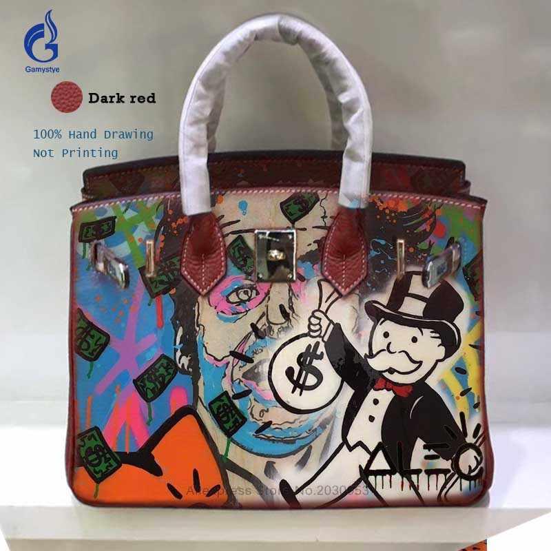 ... New Designer Genuine Leather Women Bags Handbag Crossbody Togo Leather  Shoulder Bag Hand Drawing Graffiti Art ... abde2ae8b555e