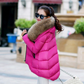Korean fashion autumn and winter women loose coat female big fur collar solid color outwear coat irregular parka plus size MZ965