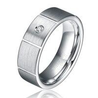 7 ملليمتر الإناث كربيد التنغستن خاتم الزفاف الفرقة مع مكعب الزركون حجر ترصيع الأزياء والمجوهرات للرجال النساء usa حجم 5 6 TU034R