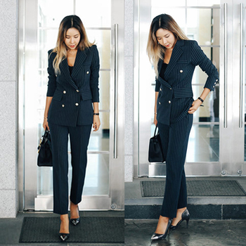 Women's Work Pant Suits OL 2 Piece Sets Double Breasted Striped Blazer Jacket & Zipper Trousers Suit For Women Outfits Feminino