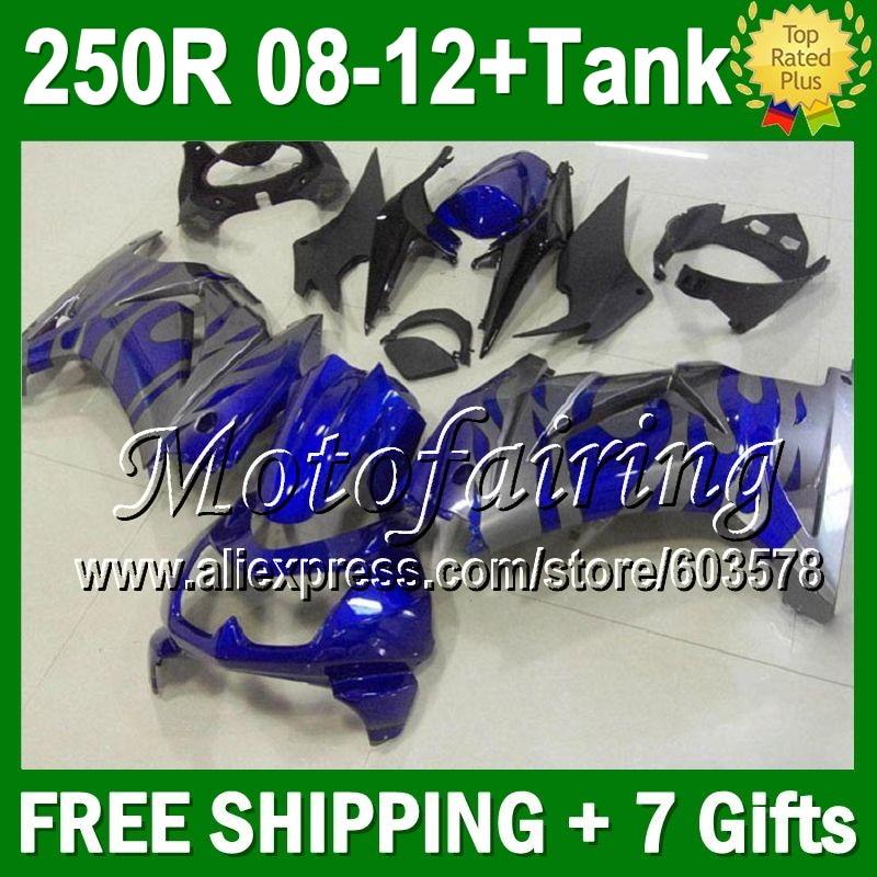 7gifts+Tank 08 09 10 11 12 For Kawasaki blue grey Ninja ZX250 ZX250R 16JM47 ZX 250R 2008 2009 flames 2010 2011 2012 Fairing
