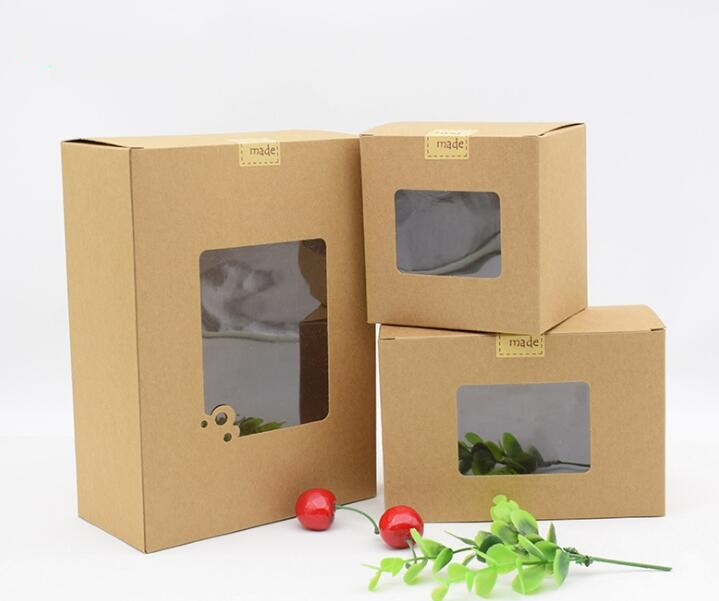 Qi Soap Paper Gift Pacakging Box With Window Brown Kraft Paper Gift Box Wedding Candy Craft Paper Box With Clear Window