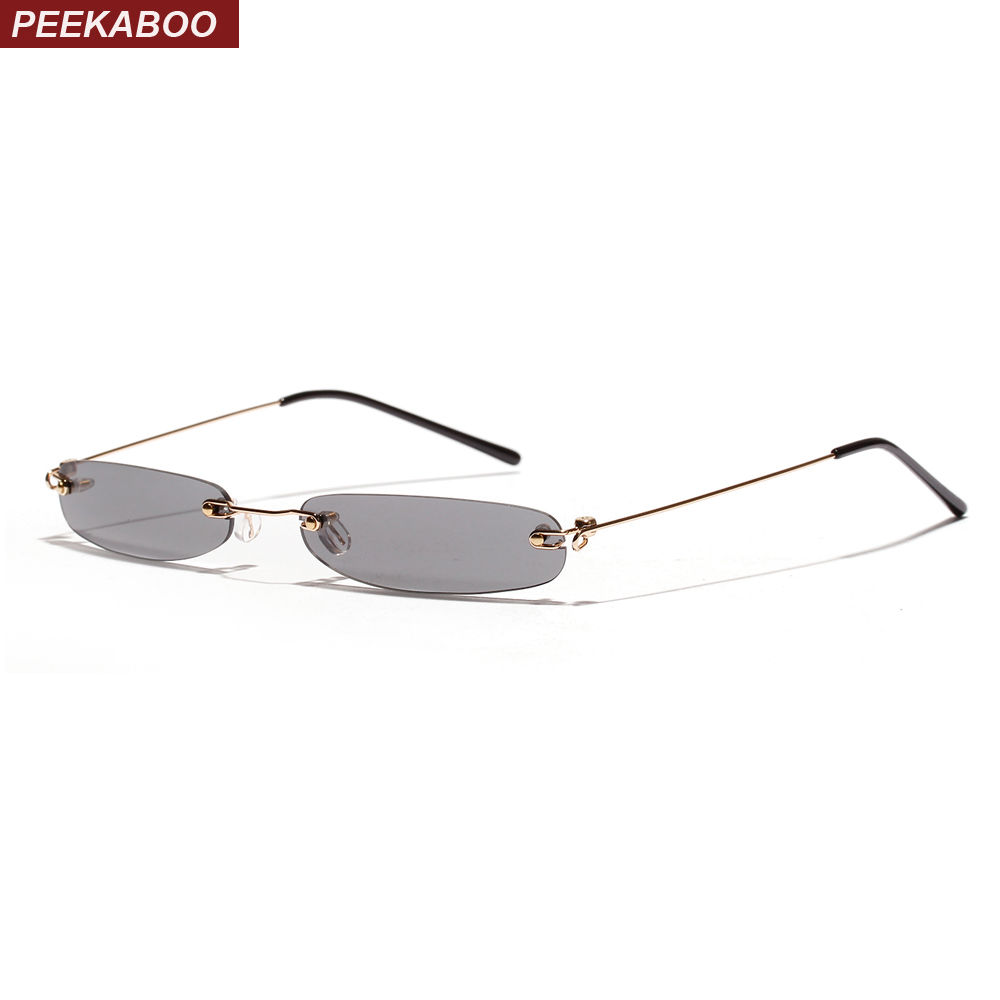 Peekaboo tiny narrow rectangle sunglasses women rimless 2019 candy color thin small sun glasses for men clear lens uv400