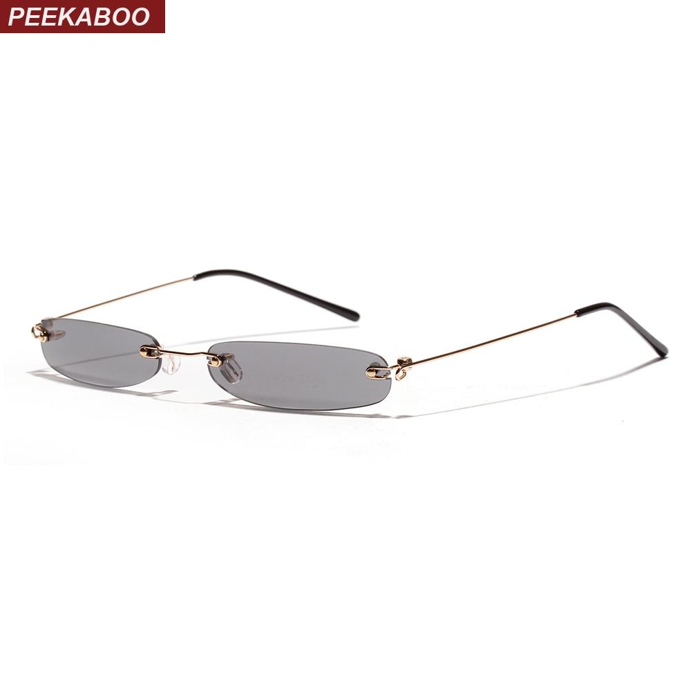 cdff6eafa74c7 Peekaboo tiny narrow rectangle sunglasses women rimless 2019 candy color  thin small sun glasses for men clear lens uv400-in Sunglasses from Apparel  ...