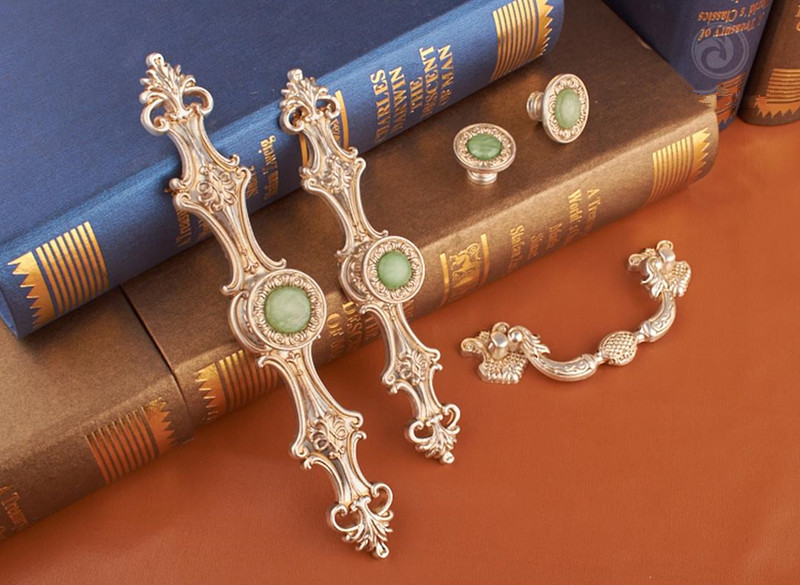 5styles Chic Dresser Pullshandle Green Stone Drawer Handle Antique Silver Cupboard Knob Rustic Kitchen Handles Hardware