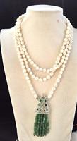 Пресноводного жемчуга белого барокко Reborn Кеши зеленый камень граненый ожерелье 60 дюймов природа одежда кулон
