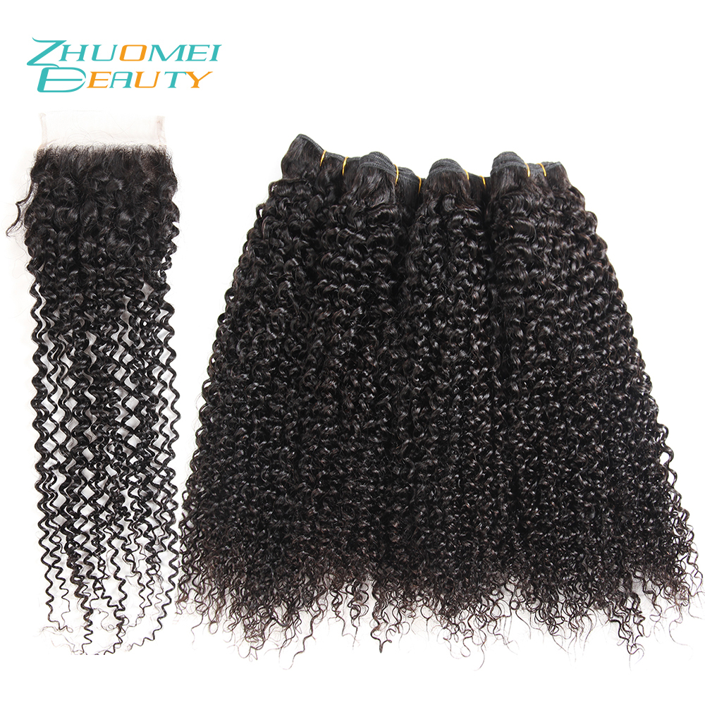 Zhuomei BEAUTY Malayaian Hair Kinky Curly Hair With Closure 4pcs Human Hair Bundles With 4*4 Swiss Lace Closure Remy Hair Weave