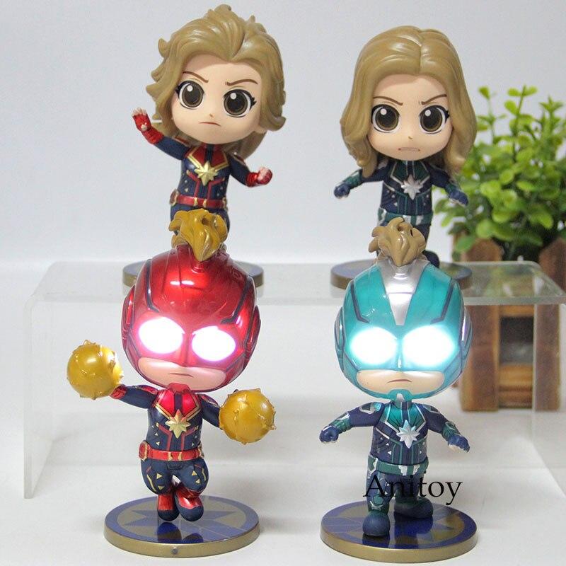 The Avengers 4 Captain Marvel Action Figure Q Version Bobble Head PVC Collection Model Toy With Light 4pcs/set
