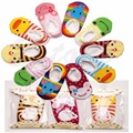 1 Пара Симпатичные Красочные Кружева Стороны Мальчик Девочка Малыша Anti-Slip Носок Обуви Тапочки