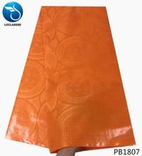 LIULANZHI african bazin 2018 cotton fabric 5yards jacquard dress orange riche brode getzner cheap newest PB18