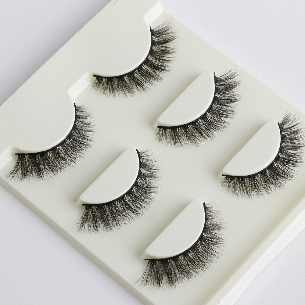 3 pares vison cílios vison cílios artesanal tira completa cílios enrolado natural longo estilo falso cílios extensão ferramenta de maquiagem