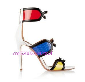 Bota Feminina New Gorgeous 10CM Snakeskin Leather High Heels Sandale Femme Mixed Color Sandals Women Open Toe Summer Boots