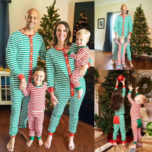 Pudcoco New Christmas Family Match Stripe Green Red Pajamas Set Jumpsuit  Adult Men Women Kid Cotton Xmas 20489dcb2