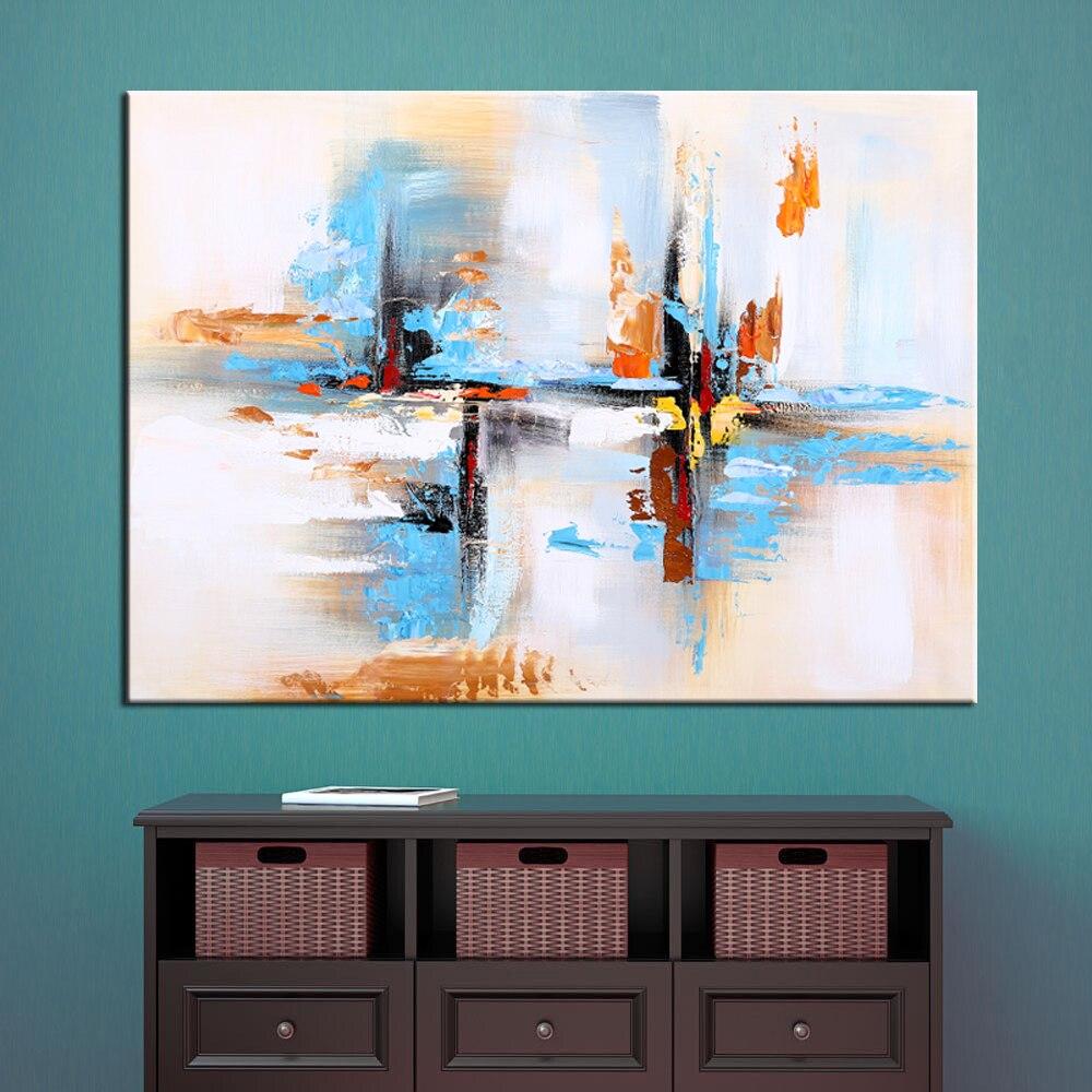 Arte de la pared pintado a mano moderno abstracto azul pintura al - Decoración del hogar