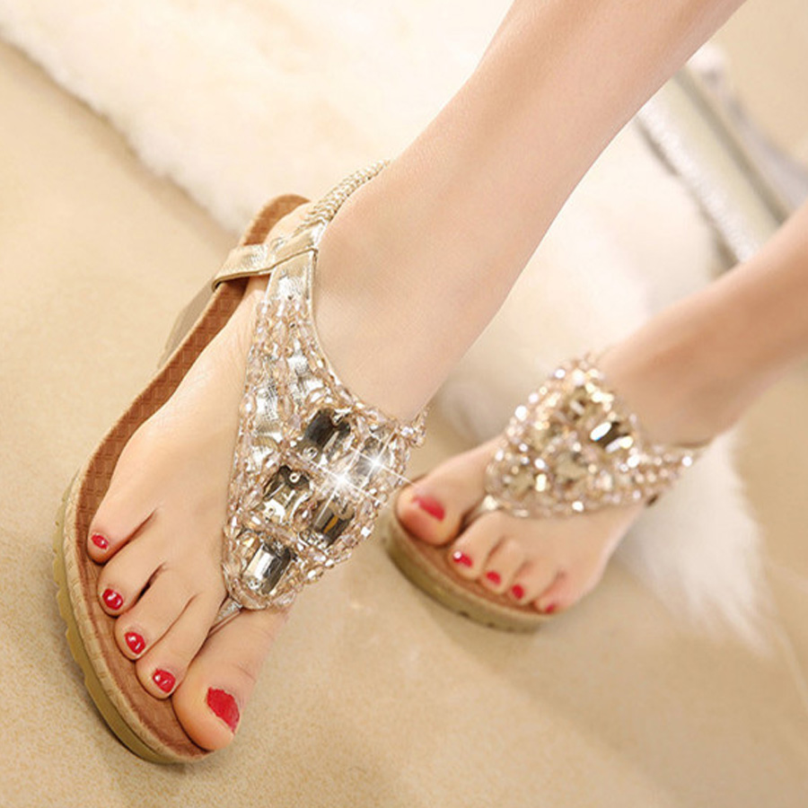 Top sale women shoes summer Bohemia sweet wedges sandals Elastic band with  crystal beach holiday comfortable casual shoes-in Women s Sandals from Shoes  on ... a87bc545cd36