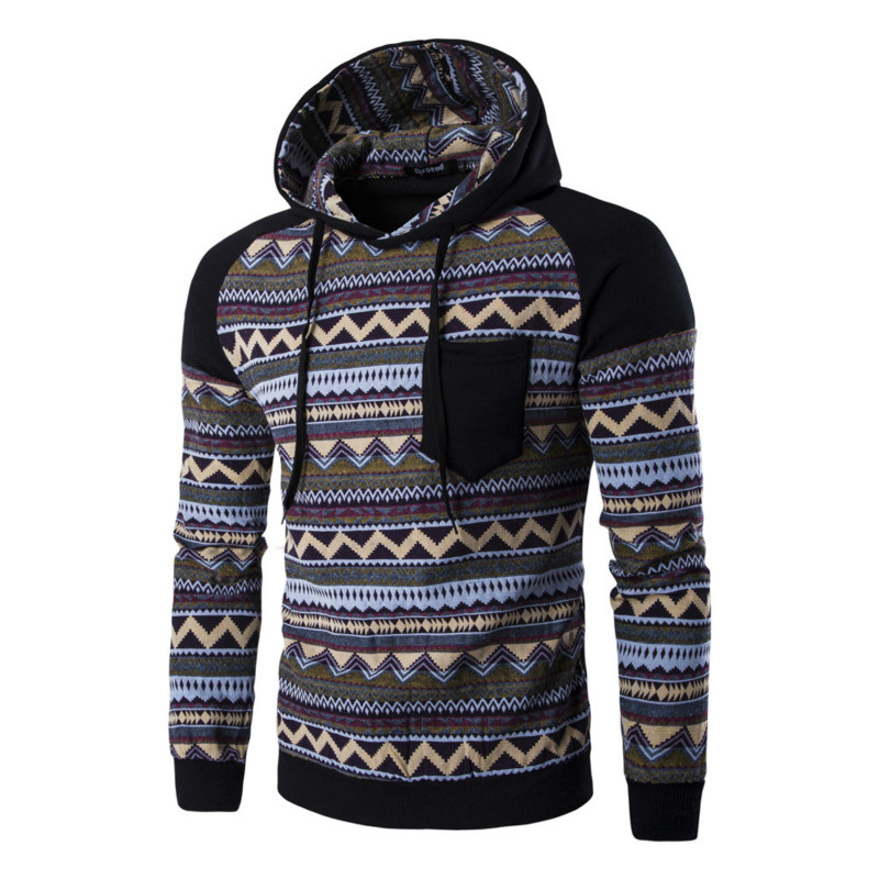 e90ea50410e3 Raglan Sleeve Aztec Tribal Print Hoodie Teen Men Color Block Geometric  Pattern Pocket Hooded Sweatshirt Bohemia Winter Outfits