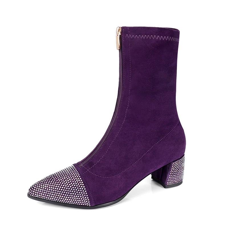 Haute Red Dames Pointu 1 rose Lycra Bout Hiver Fun 2018 Chaussures purple Stretch Tissu Nouveau Style Cheville Automne Black 2 Talons black Ville Sexy Femmes Bottes NnPXwk80O