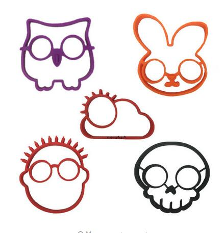 5pcs/set Owl Rabbit Skull People Sun Shapes Non stick Silicone Fried