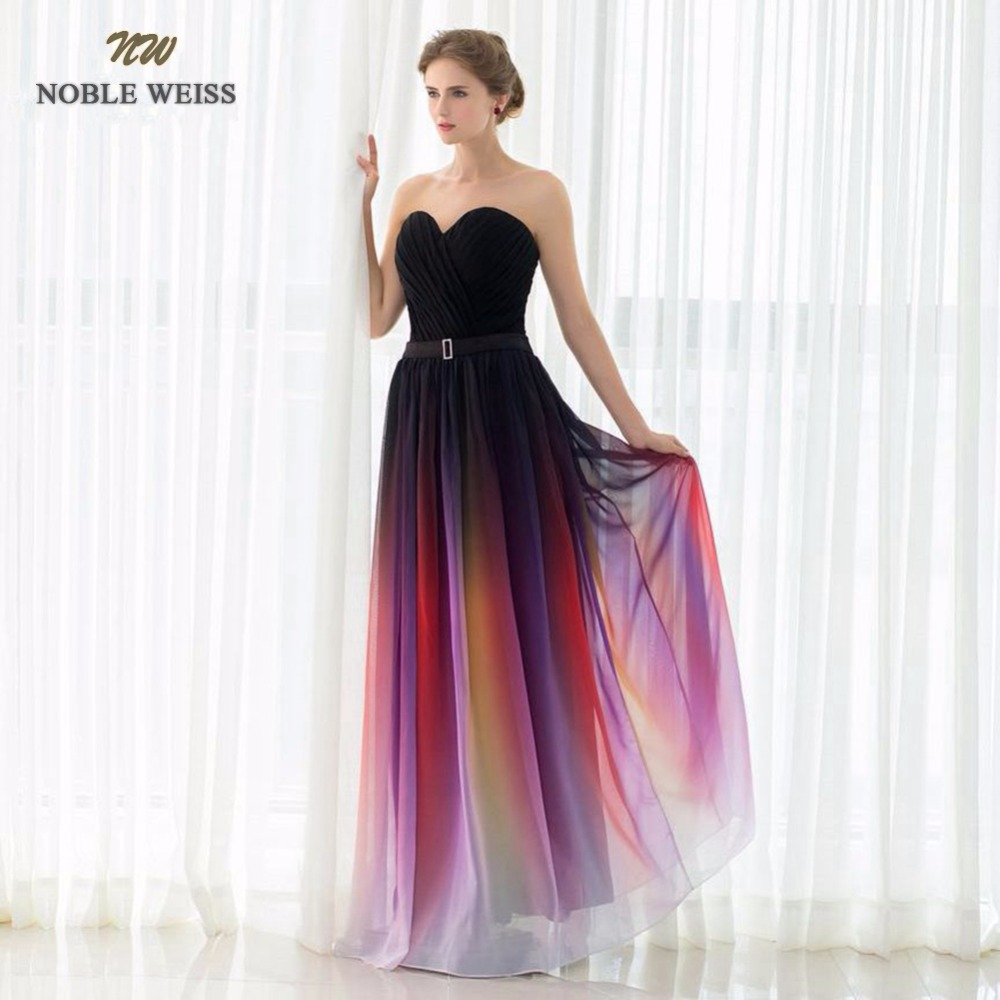 NOBLE WEISS Special Occasion Dresses A line Pleat Chiffon Long Evening Dresses 2019 New Arrival Formal